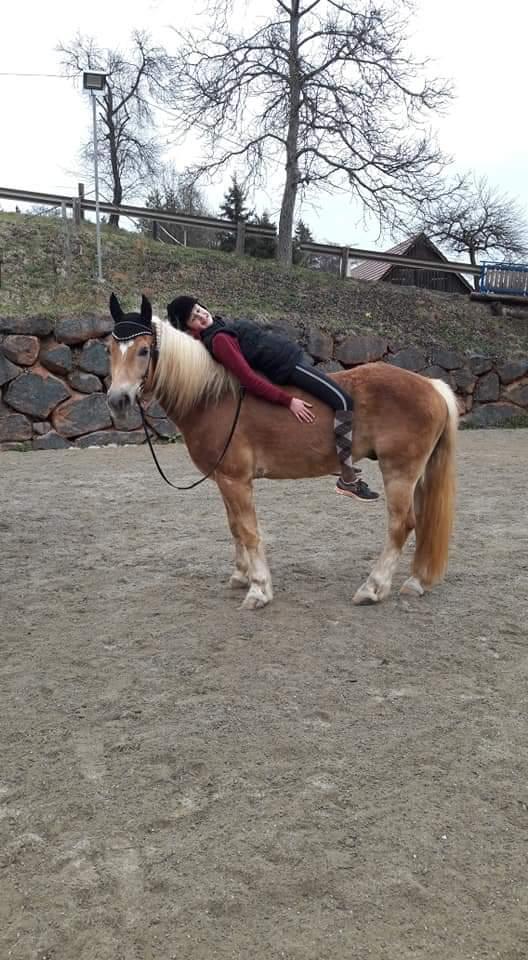 Kind liegt auf dem Pferd