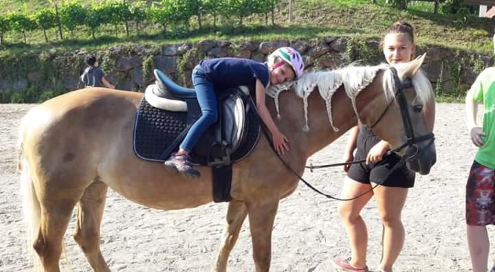 Kind umarmt Pferd